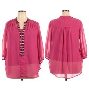 VIP by Avenue pink 3/4 length sleeve blouse